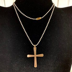 Handcrafted Brass Cross & Silver Chain Necklace